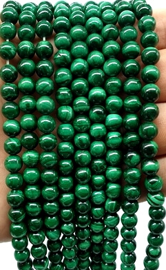 Perles 'Light Green' Malachite 6mm sur fil 40cm
