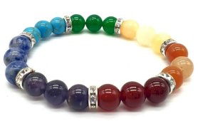 Bracelet 7 chakras 3-mix  perles 8mm